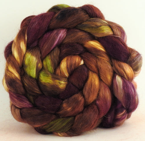 Leaf Pile - Hand-dyed wensleydale/ mulberry silk roving (65/35)