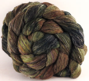 Batt in a Braid #46 -Yerba Mate - (5.6 oz) - Rambouillet/ Corriedale / Ramie/Sari Silk (25/25/25/25) - Inglenook Fibers