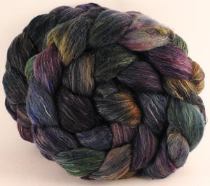 Batt in a Braid #46 - Electric Slide- (5.6 oz) - Rambouillet/ Corriedale / Ramie/Sari Silk (25/25/25/25) - Inglenook Fibers