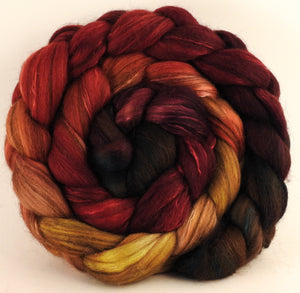 Hand dyed top for spinning - Cherry Medley (5.1 oz) - 18.5 mic merino/ camel/ brown alpaca/ mulberry silk/ (40/20/20/20) - Inglenook Fibers