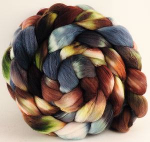 Hand dyed top for spinning -The Walrus - (5.7 oz) Organic Polwarth / Tussah silk (80/20) - Inglenook Fibers