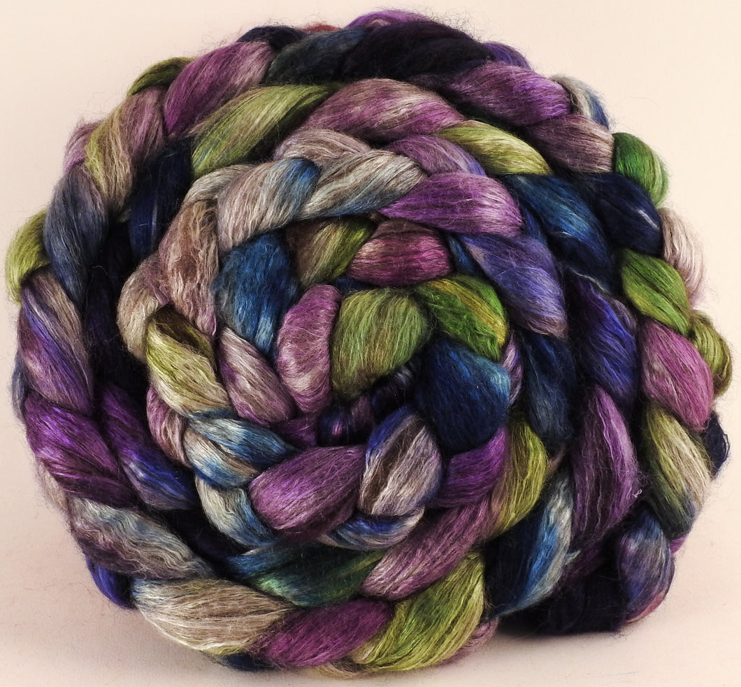 Hand dyed yak/ mulberry silk top -Lupines (5.2 oz.) - YAK /silk (50/50) - Inglenook Fibers
