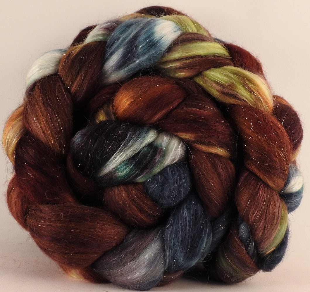 Batt in a Braid #41-The Walrus -Llama / Merino ( 18 mic.)/ Mulberry silk/ Stellina (40/30/25/5) - Inglenook Fibers