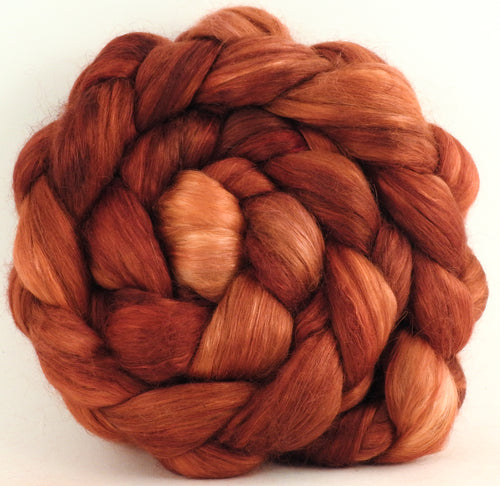Russet (5.5 oz)-Hand-dyed wensleydale/ mulberry silk roving (65/35)