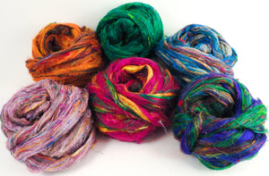 100% Sari Silk Top- Sampler- 3 oz total - Inglenook Fibers