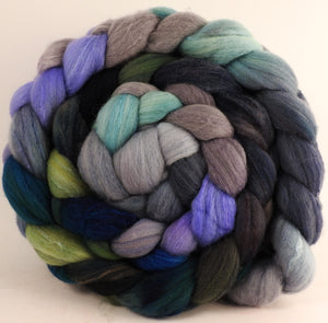 Hand dyed top for spinning - Tempest - (5.8 oz) Organic Polwarth / Tussah silk (80/20) - Inglenook Fibers
