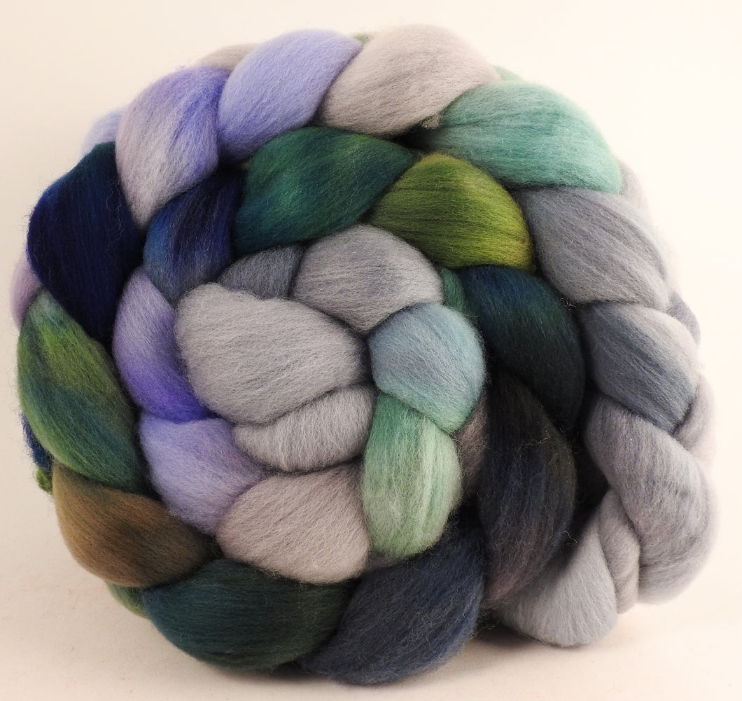 Hand dyed top for spinning - Tempest - (5.9 oz.) Organic Polwarth - Inglenook Fibers