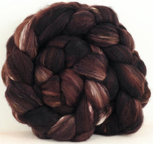 Dark Chocolate (5.4 oz) - Batt in a Braid #5- Merino/ Camel/ silk/ faux cashmere/ firestar (25/25/25/12/12)