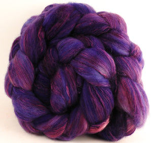 Batt in a Braid #5 - Damson Plum -(5.5 oz.) Merino/ Camel/ silk/ faux cashmere/ firestar (25/25/25/12/12) - Inglenook Fibers