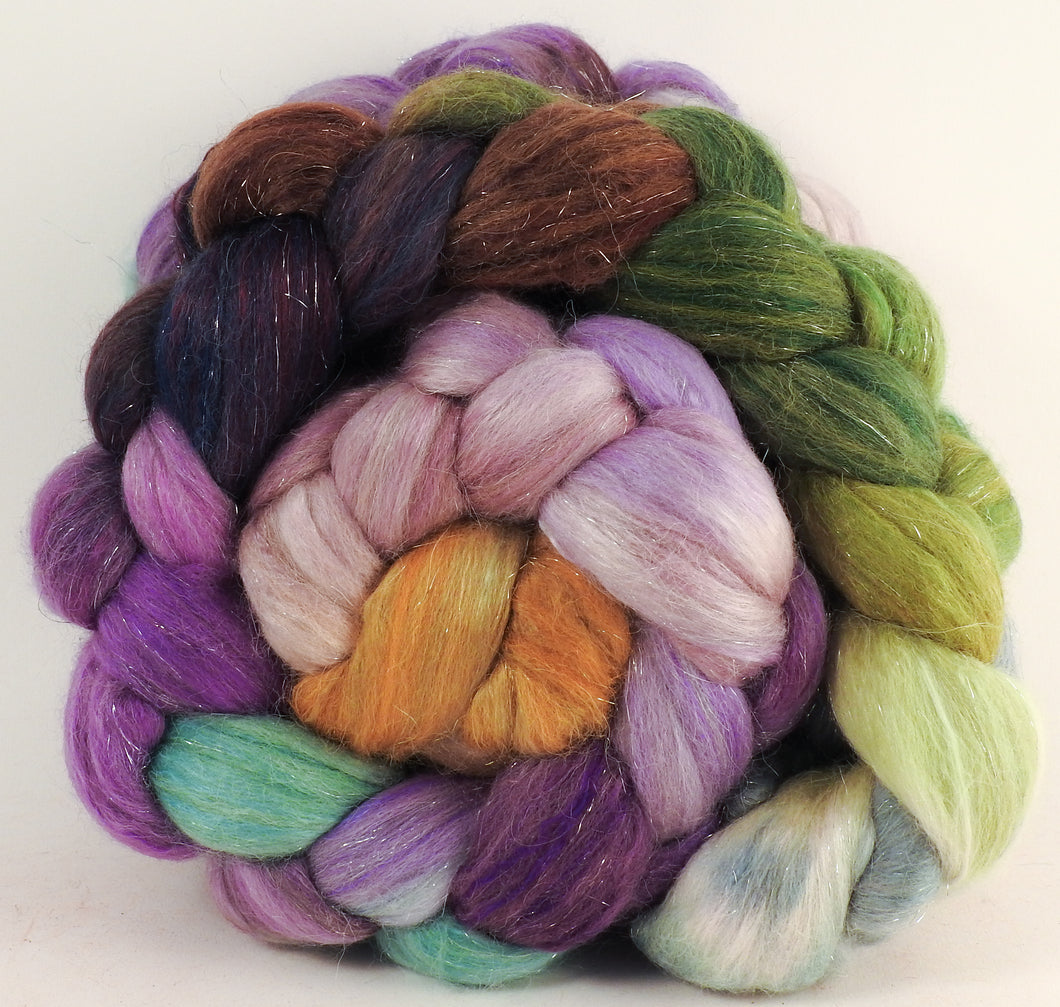 Batt in a Braid #41 - Asters - (5.2 oz.) Llama / Merino ( 18 mic.)/ Mulberry silk/ Stellina (40/30/25/5) - Inglenook Fibers