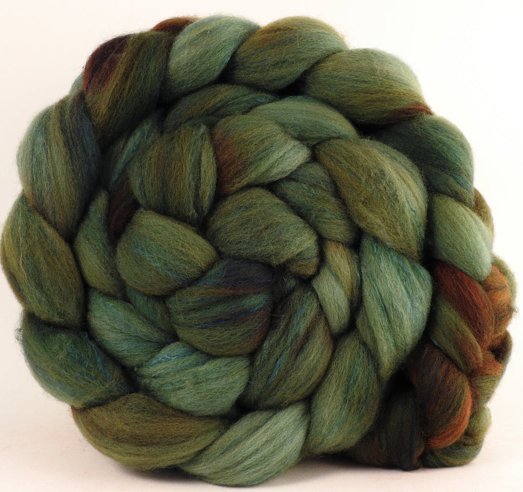Hand dyed top for spinning - Zucchini - Organic Polwarth / Tussah silk (80/20)