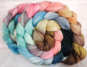 Hand dyed top for spinning -Shabby Chic ( dark) - (5.2 oz.) Organic polwarth /Tussah silk (80/20) - Inglenook Fibers