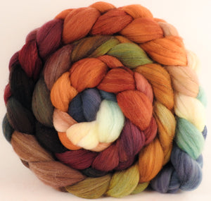 Hand dyed top for spinning - Squirrel's Pantry - (5.8 oz) Organic Polwarth / Tussah silk (80/20)