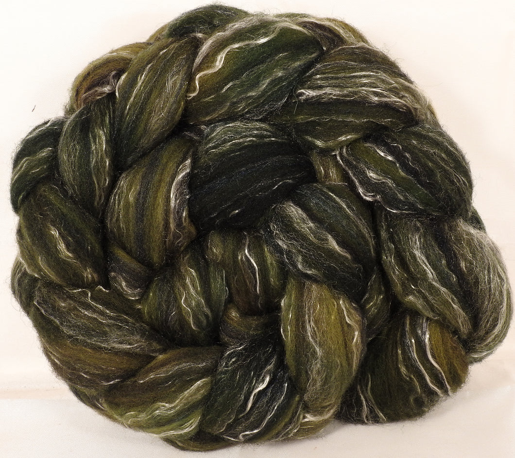 Batt in a Braid #2 - Zucchini -(4.9 oz.)Polwarth/ Manx / Black tussah silk/ tencel (40/20/20/20) - Inglenook Fibers