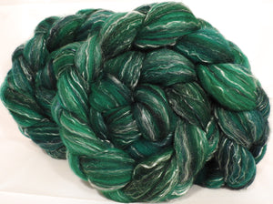 Batt in a Braid #2 -Shamrock -(5 oz.)Polwarth/ Manx / Black tussah silk/ tencel (40/20/20/20) - Inglenook Fibers