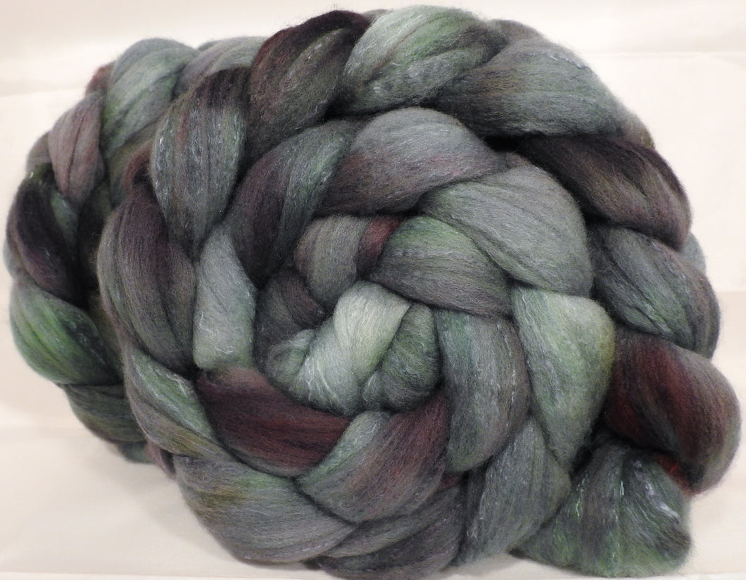 Hand dyed top for spinning -Broken Asphalt - (5.25 oz.) Organic polwarth /Tussah silk (80/20) - Inglenook Fibers