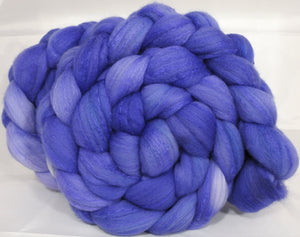 Hand dyed top for spinning -Cornflower - (5.2 oz.) Organic polwarth /Tussah silk (80/20) - Inglenook Fibers