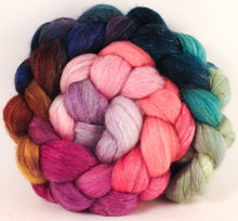 Batt in a Braid #41 - Color Me Happy - Llama / Merino ( 18 mic.)/ Mulberry silk/ Stellina (40/30/25/5) - Inglenook Fibers
