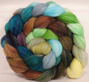 Hand dyed top for spinning -Dryad- (5.2 oz.) Targhee/silk/ bamboo ( 80/10/10)