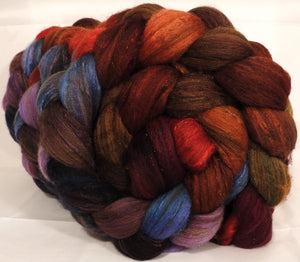 Batt in a Braid #7 -Gnomes -(5 oz.)Polwarth/ Manx / Mulberry silk/ Firestar (30/30/30/10) - Inglenook Fibers