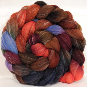 Hand dyed top for spinning -Gnomes- (5.2 oz.) Targhee/silk/ bamboo ( 80/10/10)