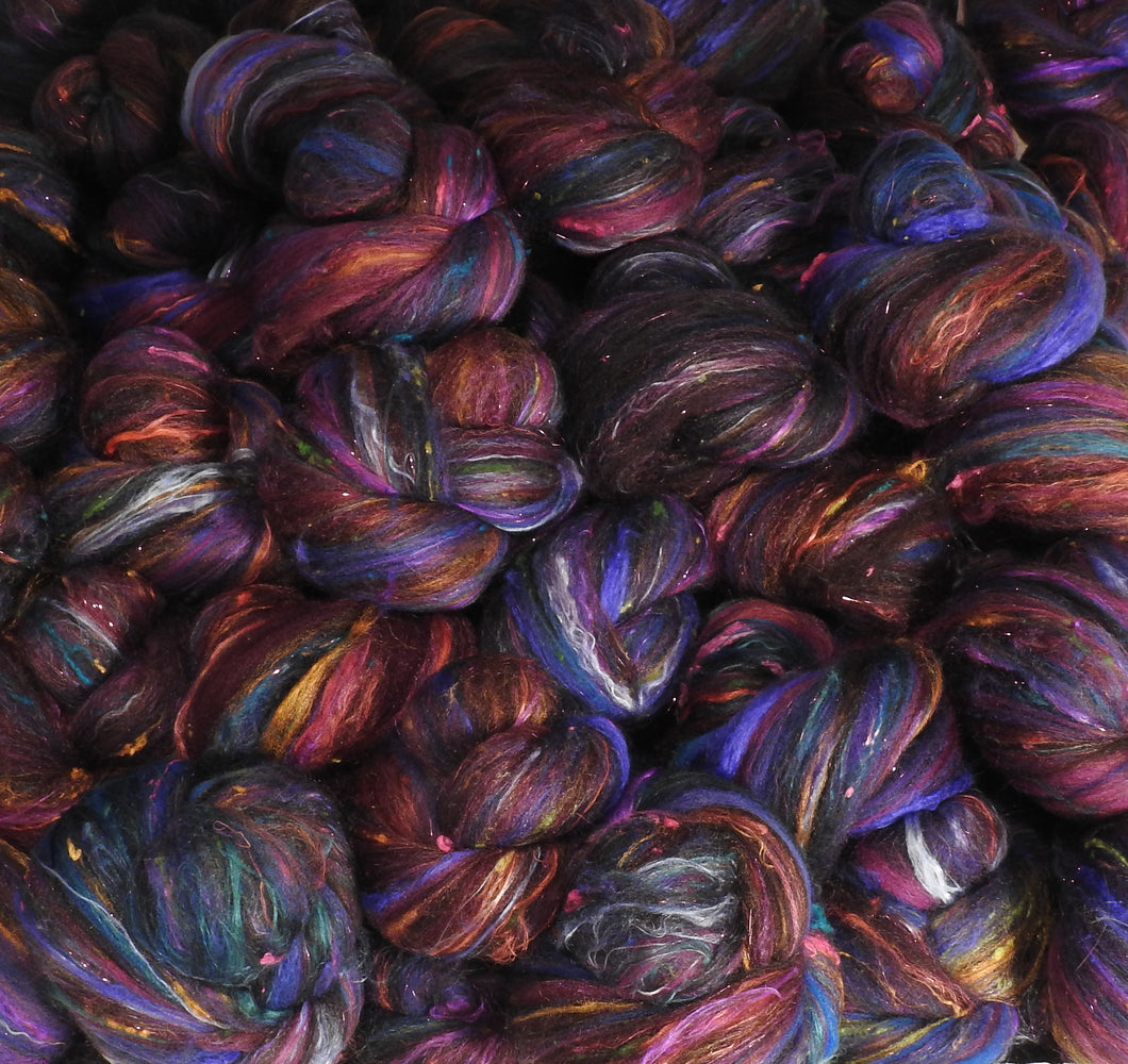 Blackberries - Sticklebatts- 30% Natural Bond fleece, merino, rambouillet , silk, bamboo, silk noil,(sparkle has angelina)