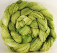 Batt in a Braid #35  - Greenleaf (5.2 oz.) - Sw Merino (18.5 mic) /Merino (18.5 mic) / Tussah Silk (40/40/20) - Inglenook Fibers