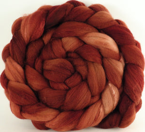 Hand dyed top for spinning - Sumac - (5.7 oz) Organic Polwarth / Tussah silk (80/20)