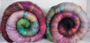 Outback in Bloom - Roly-Poly Batts- 30% Australian Bond fleece, merino, rambouillet, faux cashmere, silk, bamboo, sari silk