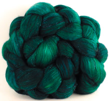 Batt in a Braid #41 - Malachite - (4.7 oz.) Llama / Merino ( 18 mic.)/ Mulberry silk/ Stellina (40/30/25/5)