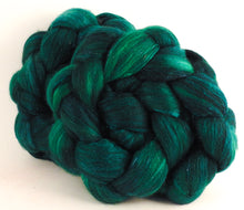 Batt in a Braid #41 - Malachite - (4.7 oz.) Llama / Merino ( 18 mic.)/ Mulberry silk/ Stellina (40/30/25/5) - Inglenook Fibers