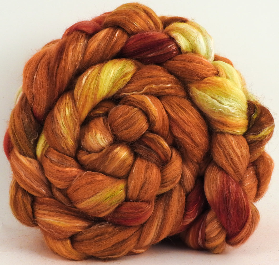 Flamethrower (5.9 oz) - Batt in a Braid #31 - Polwarth/ Mulberry Silk / Baby Alpaca / Rainbow Firestar/ Tencel( 40/25/15/10/10)