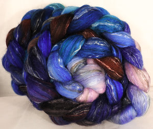 Batt in a Braid #31- Stellar's Jay -( 5.2 oz. ) - Polwarth/ Mulberry Silk / Baby Alpaca / Rainbow Firestar/ Tencel( 40/25/15/10/10) - Inglenook Fibers