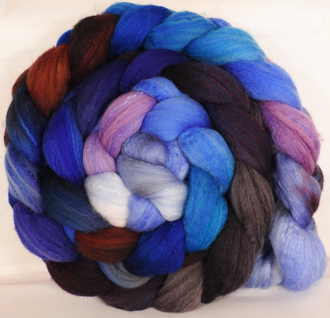 Hand dyed top for spinning -Stellar's Jay - (5.2 oz.) Organic polwarth /Tussah silk (80/20)