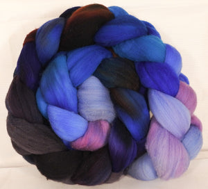 Hand dyed top for spinning -Stellar's Jay (4.8 oz.)Rambouillet - Inglenook Fibers