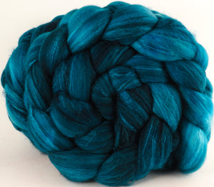 Batt in a Braid #35  - Baltic Teal (5.3 oz.) - Sw Merino (18.5 mic) /Merino (18.5 mic) / Tussah Silk (40/40/20)