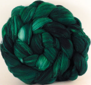 Batt in a Braid #35  - Malachite (5.3 oz.) - Sw Merino (18.5 mic) /Merino (18.5 mic) / Tussah Silk (40/40/20) - Inglenook Fibers