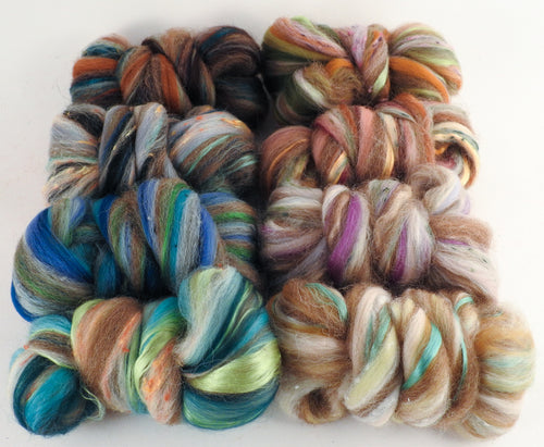 Geology Blend Sampler Pack - (4 oz.) Superfine Merino/ Manx Loaghtan/ Tweed Blend / Silk  (40/25/25/10) - Inglenook Fibers