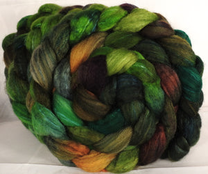 Batt in a Braid #36 - Mossy ( 5.2 oz) - Sw BFL / BFL / tussah Silk ( 40/40/20 )