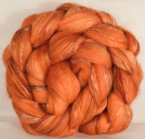 Batt in a Braid #31- Mandarin -( 5.3 oz. ) - Polwarth/ Mulberry Silk / Baby Alpaca / Rainbow Firestar/ Tencel( 40/25/15/10/10) - Inglenook Fibers