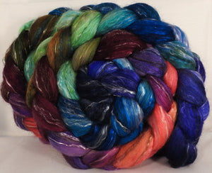 Batt in a Braid #31-Jazzberry- ( 5.4 oz) Polwarth/ Mulberry Silk / Baby Alpaca / Rainbow Firestar/ Tencel( 40/25/15/10/10) - Inglenook Fibers