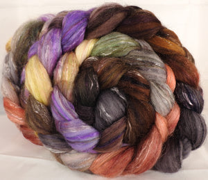 Batt in a Braid #31-Wild Mushrooms  - Polwarth/ Mulberry Silk / Baby Alpaca / Rainbow Firestar/ Tencel( 40/25/15/10/10)