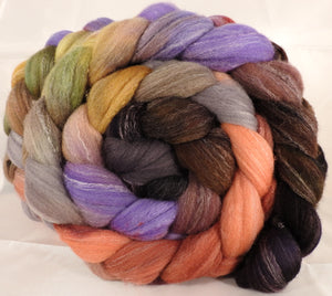 Hand dyed top for spinning -Wild Mushrooms- (5.25 oz.) Targhee/silk/ bamboo ( 80/10/10)