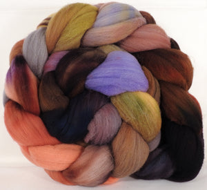Hand dyed top for spinning -Wild Mushrooms (4.7 oz.)Rambouillet - Inglenook Fibers