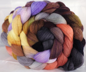 Hand dyed top for spinning -Wild Mushrooms - (5.3 oz.) Organic polwarth /Tussah silk (80/20) - Inglenook Fibers