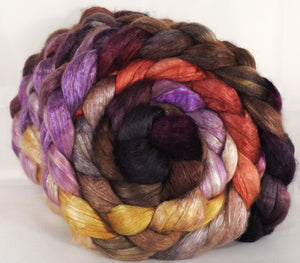 Hand dyed baby camel/ tussah silk top -Wild Mushrooms - (4.1 oz.) baby camel /silk ( 50/50)