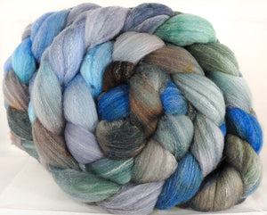Hand dyed top for spinning -Stormy Seas- (5.2 oz.) Targhee/silk/ bamboo ( 80/10/10)