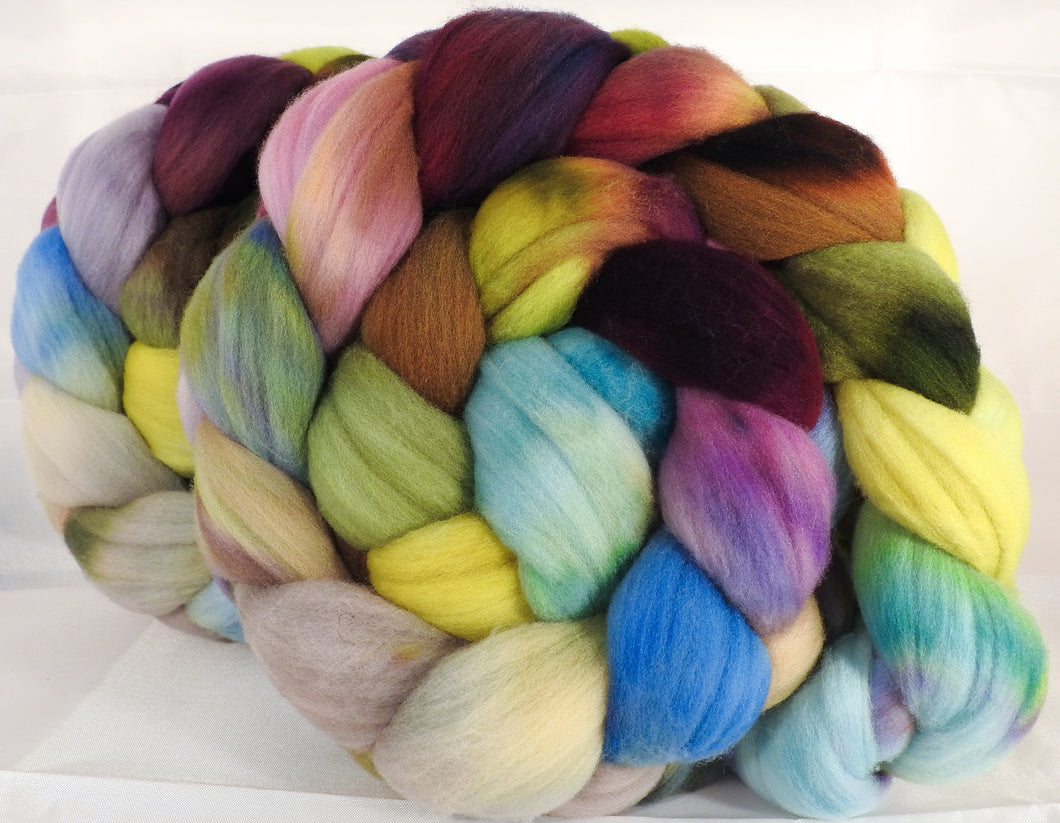 Hand dyed top for spinning -Milkweed (5.1 oz.)Rambouillet - Inglenook Fibers