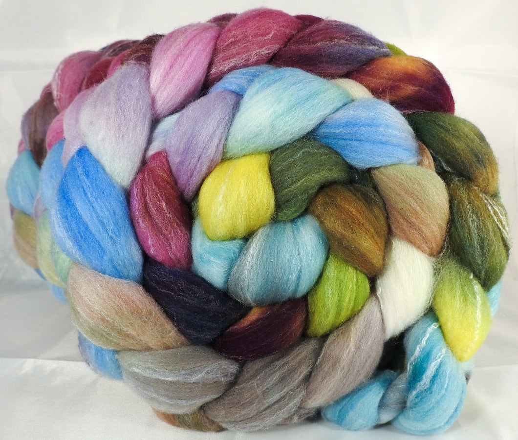 Hand dyed top for spinning -Milkweed- (5.1 oz.) Targhee/silk/ bamboo ( 80/10/10)