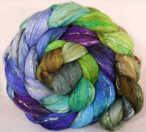 Batt in a Braid #31- Water Pixie- Polwarth/ Mulberry Silk / Baby Alpaca / Rainbow Firestar/ Tencel( 40/25/15/10/10)